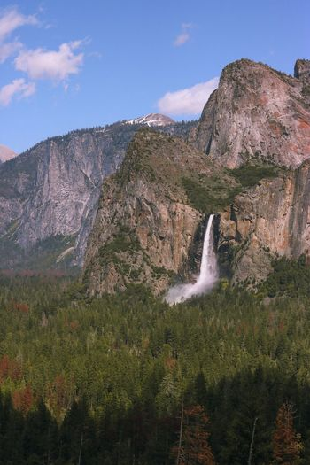 View of waterfall on mountain