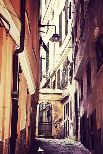 Small narrow paved street in old town Genoa, Italy Ancient Architecture Building Exterior Built Structure Cityscape Day Genoa, Italy, Europe, Liguria Grunge Historic Houses Low Angle View Narrow Street No People Old Town Outdoors Passage Pavement Steep Traditional Urban Vicolo