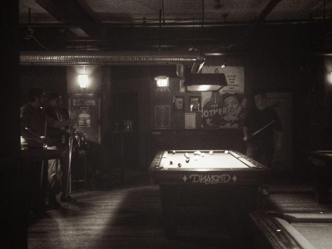 Blackandwhite Noir Urbanphotography Billiards Shooting Pool Taking Photos IPhoneography