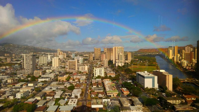 Double Rainbow Rainbow Goodluck Ãnuenue Townscapes Landscape_Collection Hawaii Cityscape Colors Skyscraper City Earth_Collections CaptureTheMoment Happiness Miracle Aloha Taking Photographs Eyeemphotography Eye4photography  EyeEm Best Shots EyeEm Nature Lover Sky Honolulu, Hawaii Nature_collection