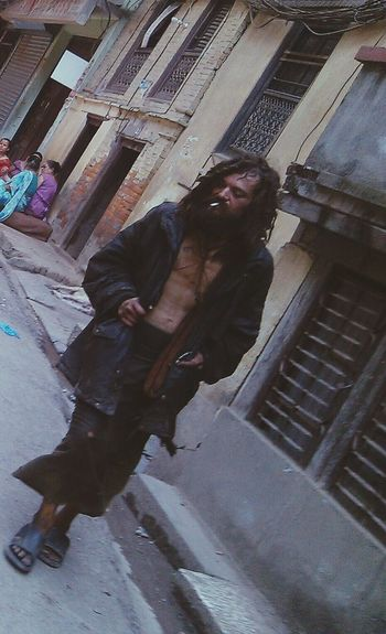 Foreigner who lost his path during his tour to nepal.he was here from last 5-6 year. No support from goverment ,embessy,nither from human right activiest .he spend all of time in street ,street is his home .you people guess from his photo how he spent his life.where is humanities.