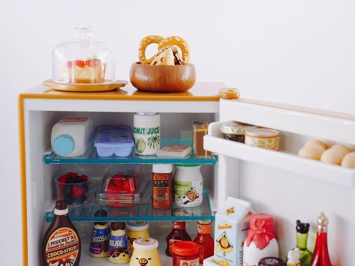 Mini refrigerator 🐻 Sweet Food Dessert Juice Arrangement Bottle Choice Close-up Container Food Food And Drink Glass - Material Indulgence Jar Large Group Of Objects Minimalism Multi Colored Refrigerator Retail  Shelf Still Life Sweet Sweet Food Temptation Variation White Background Abundance Cabinet Home Candy Baked