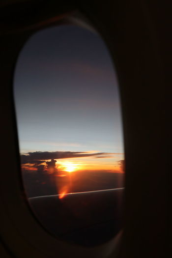 View of sky seen through airplane window