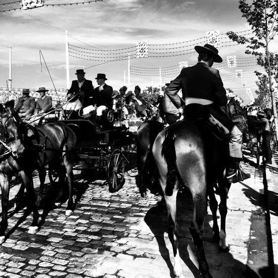 Feria Streetphoto_bw Black And White Bw_collection Movilgrafias Blackandwhite Sevilla People Simple Moment Feria De Abril