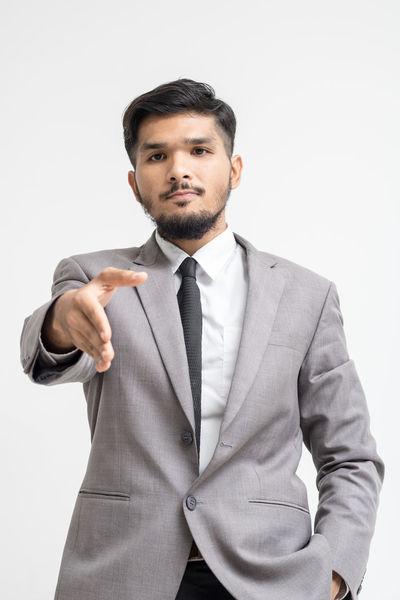 Businessman on white background Adult Business Businessman Men Partner People Shake Standing Success Suit Trust
