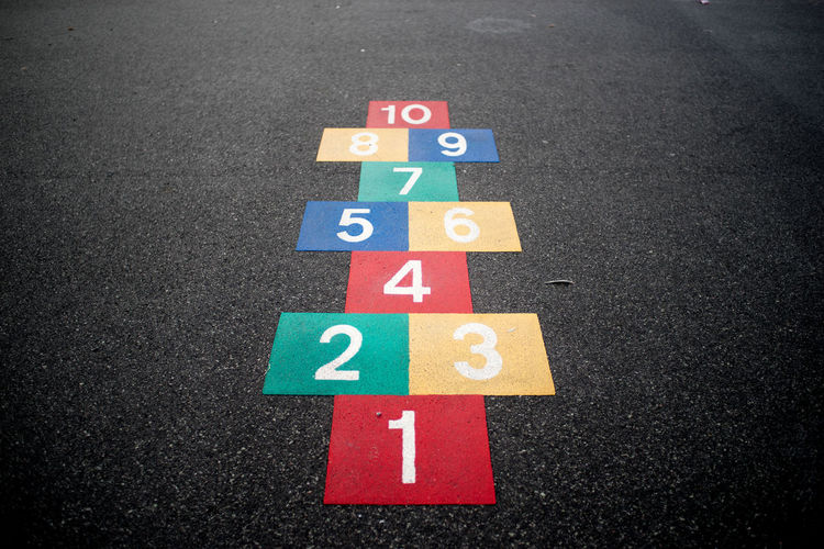 High Angle View Of Colorful Hopscotch Drawn On Street