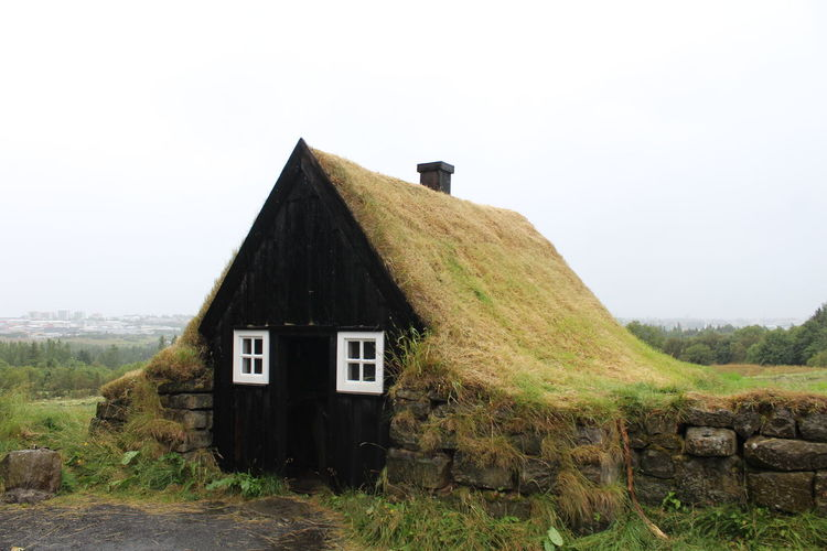 Architecture Built Structure Building Exterior Building House Day Nature Sky Grass Plant Landscape No People Land Field Clear Sky Environment Copy Space Wood - Material Old Abandoned Outdoors Cottage Stone Wall Iceland Travelling