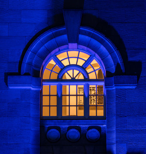 Window Architecture Built Structure No People Indoors  Arch Blue Glass - Material Building Day Pattern Illuminated Stained Glass Glass Transparent Lighting Equipment Wall Wall - Building Feature Metal Window Frame Nürnberg Blaue Nacht