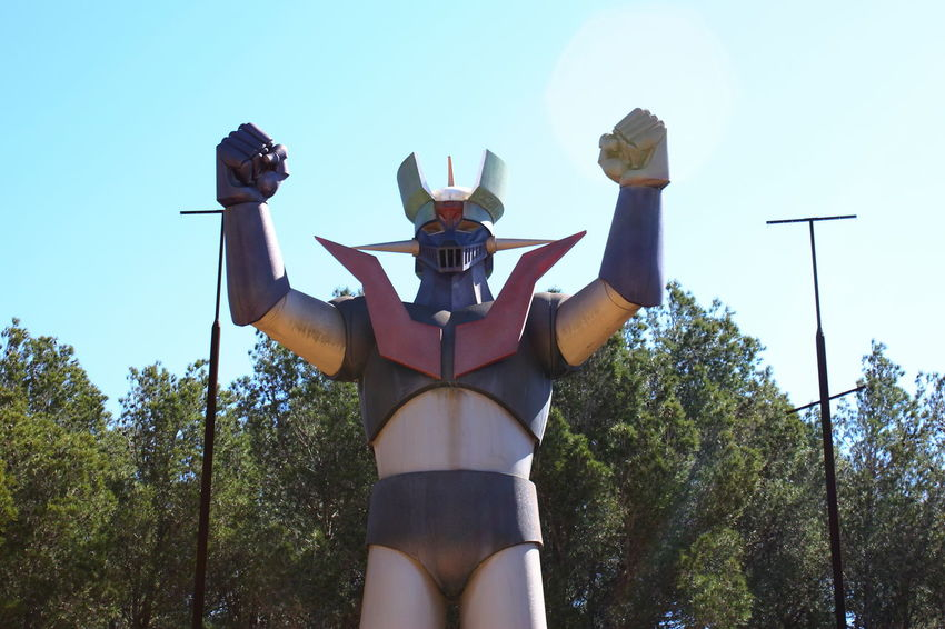 Giant Mazinger Z statue which is permanently in Tarragona, Spain. It was built in 80's 80's 80s Anime Cartoons Clear Sky Eighties Japanese  Low Angle View Manga Mazinger Mazinger Z MazingerZ Outdoors Sky Statue