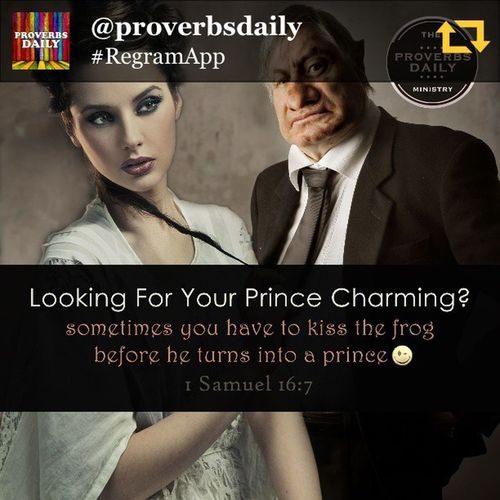 "RG @proverbsdaily: Beauty & Beast ...for the LORD seeth not as man seeth; for man looketh on the outward appearance, but the LORD looketh on the heart (1 Samuel 16:7) - These days there is a LOT put on how a guy and girl look in order to even have a chance of dating or even being friends. Some call it Bieber Fever Syndrome Effect where even older women want little young boys that look like girls LOL!!! But I also know a lot of people who don't fall into the standard of ""beauty"" by the world's standards. They aren't magazine cover material, right? Too ugly, to fat, to whatever... but some of the best guys I know aren't models but they are prince material and would make any girls dream come true of being loved, romantic, faithful provider and loving father and far beyond what the player dude can give her, but ... most girls want the ""bad"" boy and love takes 2nd place to lust and desire. Don't get me wrong, we're human and we have to have chemistry, what I'm saying is most guys that might be kings, never get the chance to show the girl his heart because she's looking for the fantasy, the ""disney magic"" ;) Right? Same with girls, there are some truly godly princesses that get over looked because of the same reasons. So, this post is dedicated to all the frogs out there that faithfully strive to do right and are princes and princesses in their hearts and souls. That boy or girl you think is just a 'cool' friend, maybe you should look closer at the way they look at you and maybe listen to what they see when they do... You long to be seen, heard, to be known, to be loved, to be understood...? Maybe you are missing the very one that is looking into your soul every time they look into your eyes... Old and young, ugly and beautiful, fat and skinny, short and tall, ... this is dedicated to all the beauty and beast out there wishing on a star and praying for their special someone. Proverbsdaily Proverbs Bible BIBLEVERSE Wisdom BeautyBeast Beauty Dating Relationship Love regramapp"