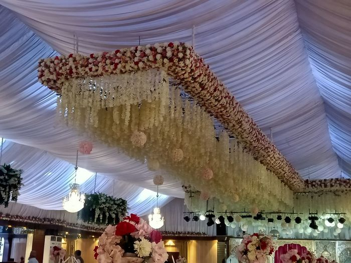 Low angle view of decorations hanging on ceiling of building
