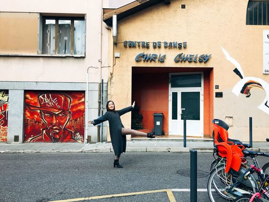 Grenoble France Full Length Built Structure Real People One Person Casual Clothing Building Exterior Street Architecture Lifestyles Outdoors Leisure Activity City Day Young Adult Pretend to be good at dancing.. Dance Photography Photooftheday Streetphotography