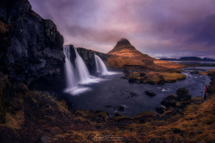 One of the iconic locations in Iceland Beauty In Nature Iceland Kirkjufell Long Exposure Motion Mountain Nature No People Outdoors Power In Nature Scenics Sky The Great Outdoors - 2017 EyeEm Awards Tranquil Scene Tranquility Water Waterfall