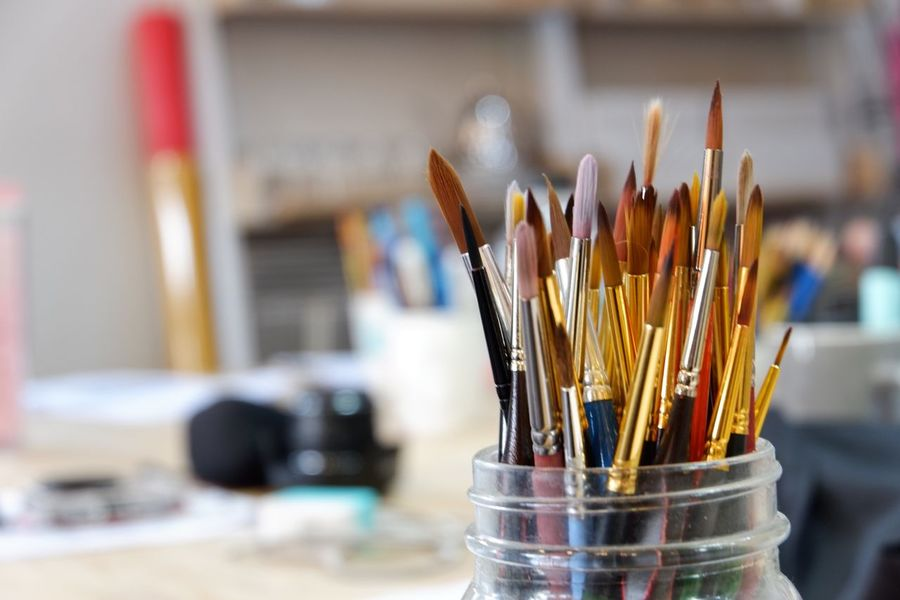 Brushes Studio Copy Space Gold Art Equipment Art Brush Desk Organizer Focus On Foreground Close-up No People Day
