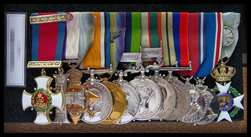 Argyll & Sutherland Highlanders British Army Collection Distinguished Service Order DSO Medals Military Cross Museum Order Of The Redeemer Ribbons Still Life War Medals