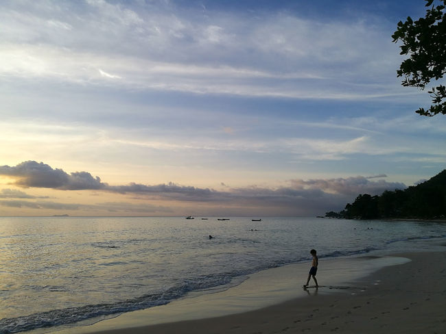 Beach Sand One Person Water Full Length Summer Sky Sea Cloud - Sky People Tranquility Scenics Outdoors Landscape Silhouette Adult Nature Sunset One Man Only Travel Destinations Holiday Child Berjaya Beach Seychelles Vacations Beauty In Nature Lost In The Landscape