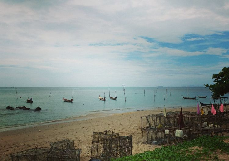 Beach Calm Fisherboat Koh Lanta Lobster Cages Longtail Boats Sand Sea Tranquility Fishing Nets