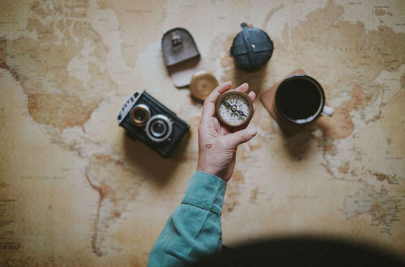 Coffee Hat Map Planning Woman Compass Direction Directly Above Explorer Flatlay High Angle View Holding Indoors  Lifestyles One Person Planning A Trip Vintage Camera World Map