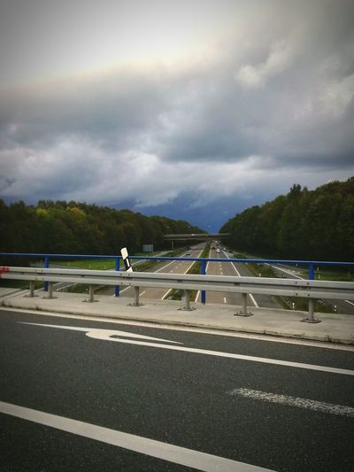 Highway Cloudy Clouds And Sky Bridge Arrow Right Streetview Streets Cars Trees