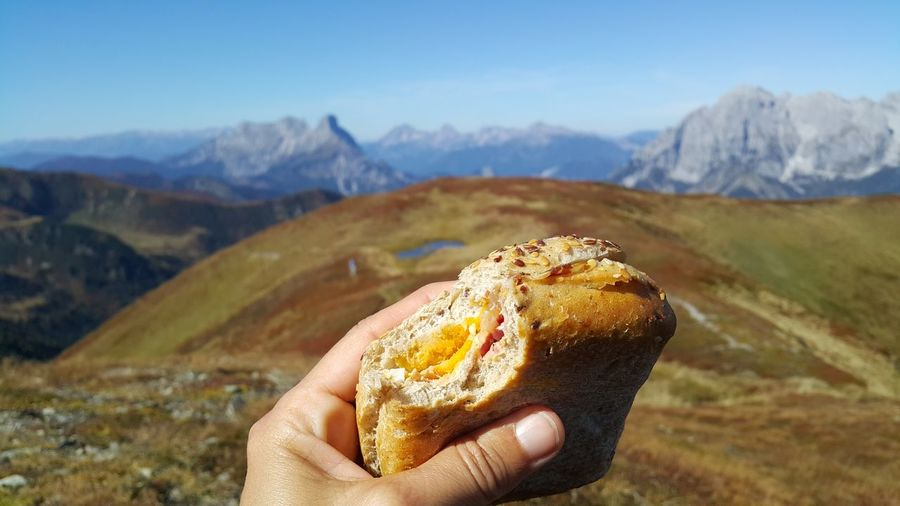 Cropped hand holding burger against mountain