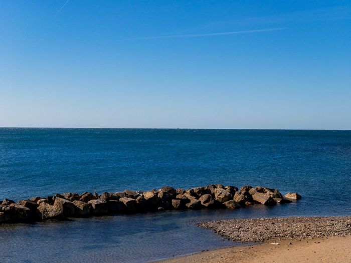 Calmness Horizon Over Water Roadtrip Seaside Blue Water Mediterrean Sea Water Horizon Over Water Sky Horizon Tranquility Scenics - Nature Beauty In Nature Blue Rock - Object Clear Sky Outdoors