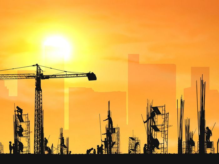 Silhouette construction workers group are working to build reinforcement structure with crane in construction site and blurred building shadow in sunrise sky background, illustration mode People Workers Group Construction Site Working Reinforcement Scaffolding Project Sunrise Evening Occupation Illustration Orange Color Professions Engineering Technology Development City Shadow Crane Safety Helmet Men Sunset Silhouette Sky Building Tall - High Skyscraper