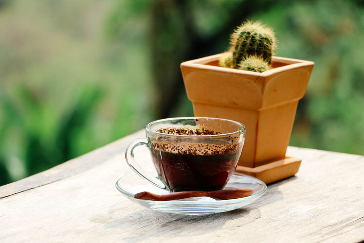 Close-up of coffee cup by potted plant outdoors