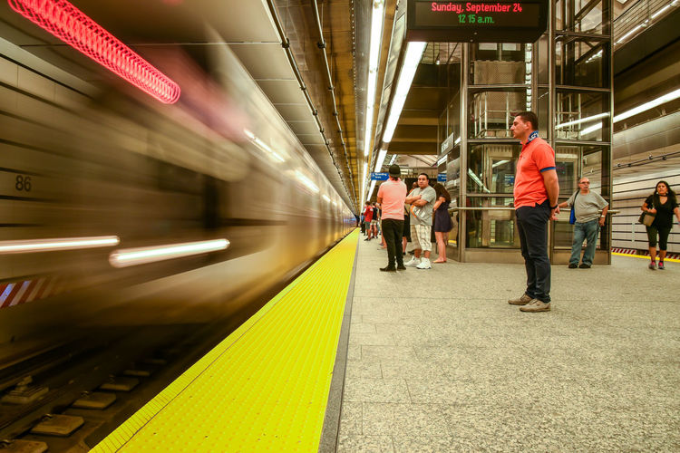 86th street Q train, NYC. Photographed by Cooper Billington. City Life Colors Full Length Indoors  Motion People Photo Photography Public Transportation Yellow Paint The Town Yellow