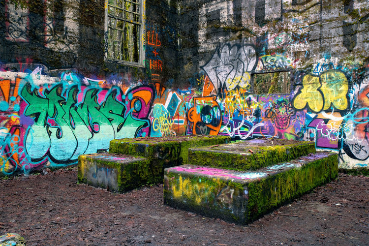 Old Power Station at Headquarters Art And Craft Creativity Graffiti Multi Colored Street Art Representation Architecture Built Structure Wall - Building Feature Wall No People Building Exterior Plant Craft Human Representation Day City Nature Paint Mural Outdoors