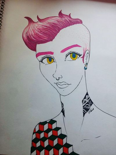 About Yesterday Sharpie Art By Me ♡♡ Drawing ✏ ✨🌟 Pink Hair