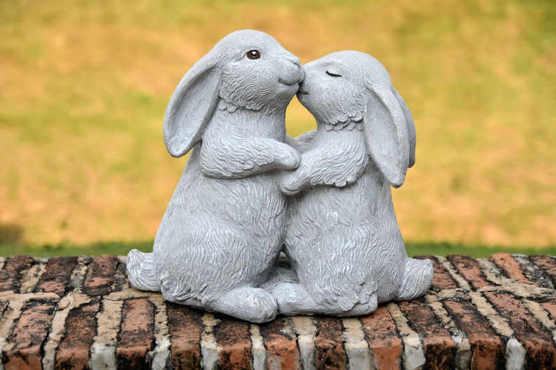 Rabbits Animal Themes Close-up Day Kissing Mammal Nature No People Outdoors Sculpture Statue
