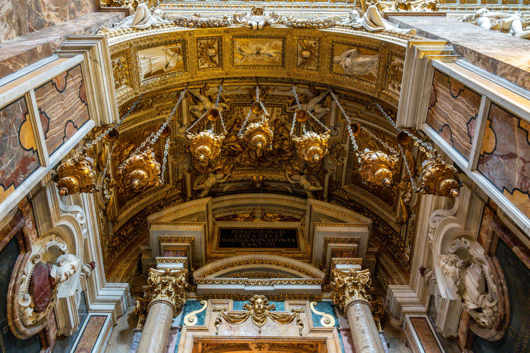 Religion Architecture Place Of Worship Low Angle View Built Structure Spirituality Belief No People Travel Destinations Building Ornate History Art And Craft Indoors  The Past Day Ceiling Architectural Column Mural Altar