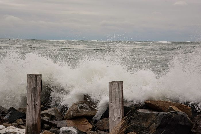 Waves Crashing Coast New Hampshire Hampton Beach Nikon D750 EyeEm Nature Lover EyeEm Best Shots Weather Seaside Water_collection Beach Water Sea Ocean Waves Waterfront Beachphotography Nature Showcase: February Beach Photography Storm Stormy Weather Coastline Sky And Clouds Clouds