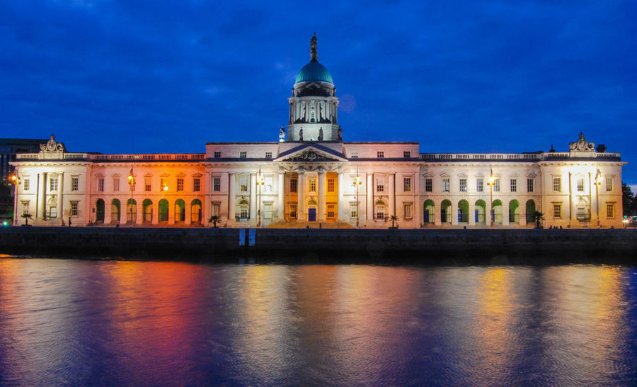 Dublin Lights Reflection Architecture Blue Building Building Exterior Built Structure City Dusk Façade Government History Illuminated Longexposure Nature Night No People Reflection Sky Spire  The Past Travel Destinations Water Waterfront The Still Life Photographer - 2018 EyeEm Awards HUAWEI Photo Award: After Dark