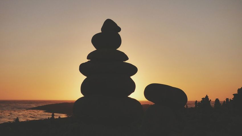 EyeEm Selects Sunset Silhouette Outdoors Nature Water Day Sky No People The Week On EyeEm Tranquility Silhuette Creative Silhouette_collection Sunset_collection Sunset Zen Rocks Zen Rock At Beach Rock - Object Zen Rocks Silhouette Stack