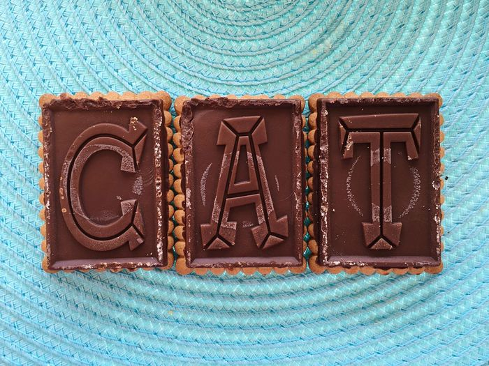 Directly above shot of alphabets on chocolates