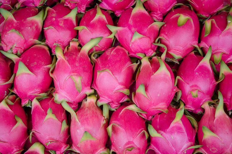 Abundance Backgrounds Close-up Day Food Food And Drink For Sale Freshness Full Frame Healthy Eating Large Group Of Objects Market Market Stall No People Outdoors Pink Color Pitaya Retail  Supermarket