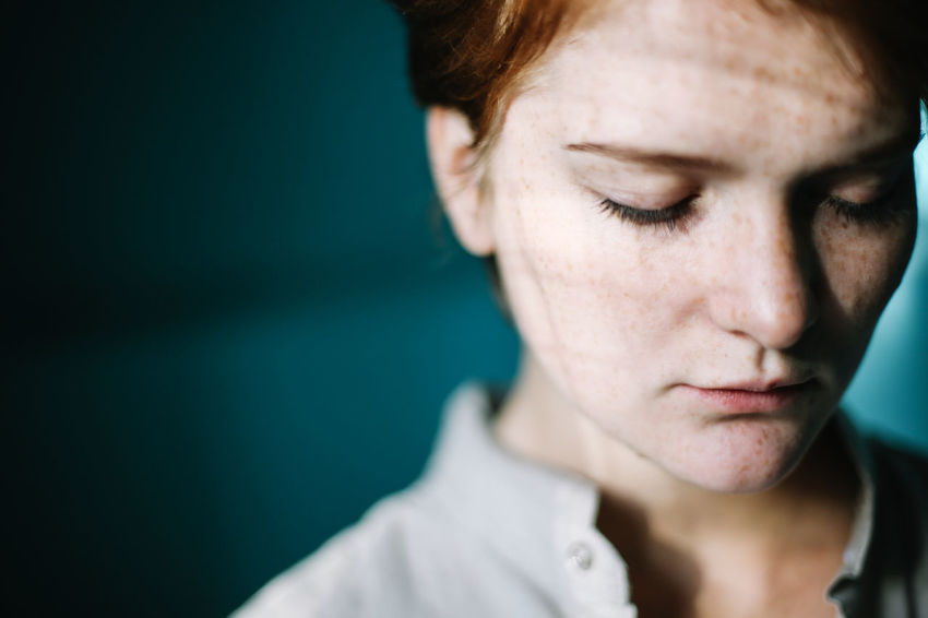 Beauty Blue Day Freckle Freckleface Freckles Ginger Gingerhair Gingerismypassion Girl Girl Power Inlove Mymuse One Person One Woman Only The Portraitist - 2017 EyeEm Awards Women Young Adult Naked Face Be. Ready. Inner Power