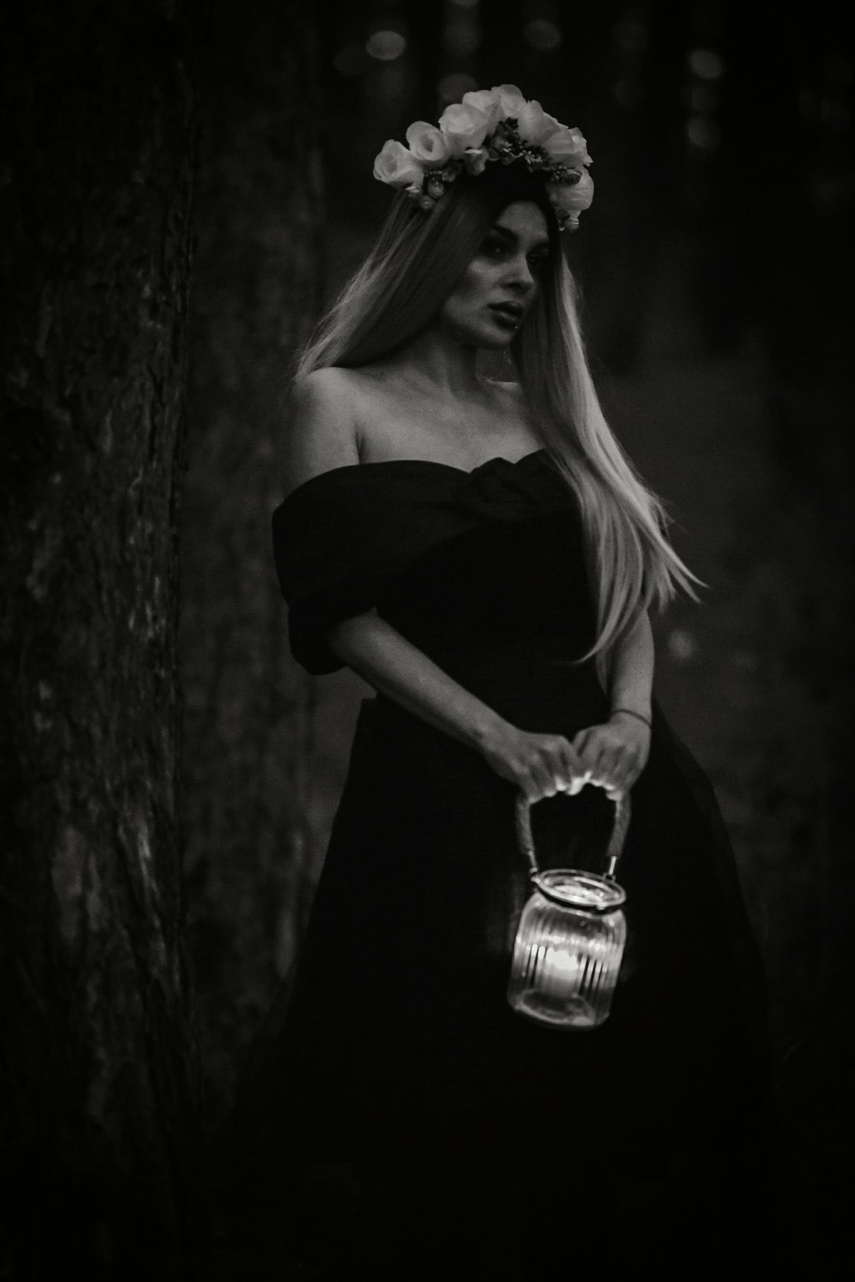 black and white, black, darkness, women, adult, one person, monochrome, monochrome photography, fashion, hairstyle, clothing, young adult, long hair, dress, female, portrait, bride, standing, elegance, dark, nature, emotion, plant, fashion accessory