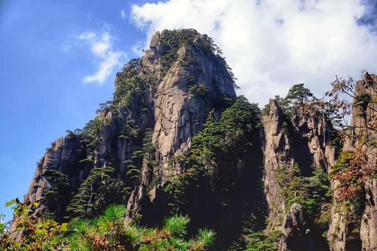 Beauty In Nature Blue Cliff Cloud - Sky Day Eroded Green Green Color Growth Majestic Nature No People Non-urban Scene Outdoors Rock - Object Rock Formation Rocky Rocky Mountains Scenics Sky Solitude Tranquil Scene Tranquility Tree Weathered