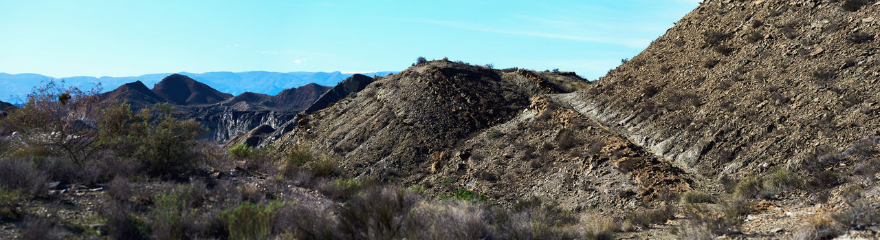 Panoramic View Of Tabernas Desert Against Clear Sky