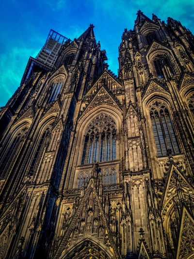 Cologne Architecture Low Angle View Religion Place Of Worship Building Exterior Rose Window Spirituality Built Structure No People Sky Outdoors Day First Eyeem Photo