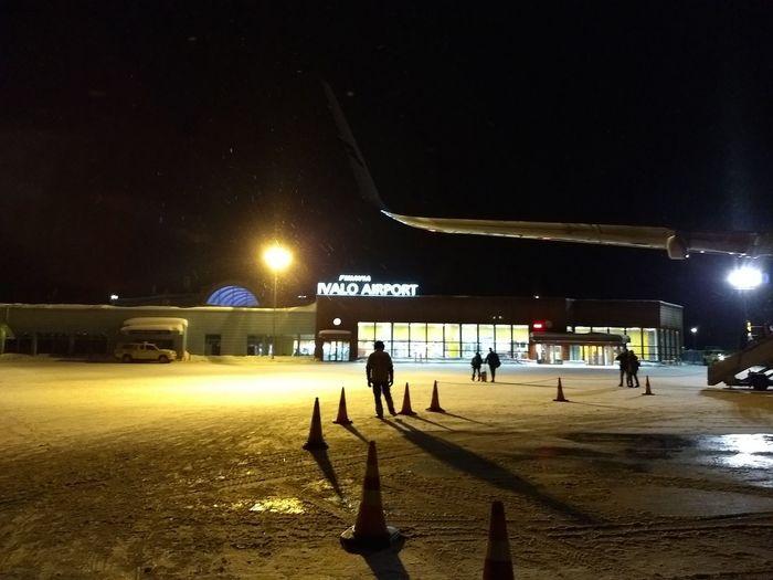 Ivalo Airport Plane Ivalo Nighttime Illuminated Full Length