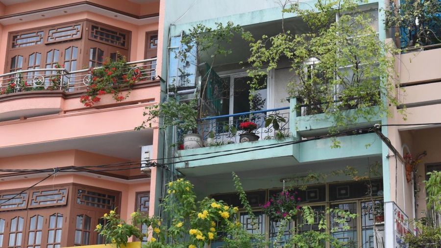 Colorful Building Exterior Architecture Built Structure House Balcony Potted Plant Window Plant Low Angle View Day Flower Residential Building
