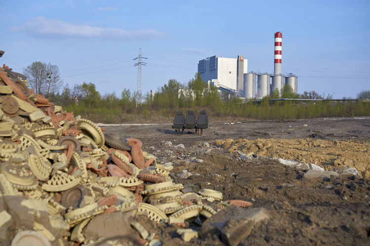 Industry Restaurent Adam Dziergaczow Area Near The Power Plant Bench Chimney Electricity  Indrustrial Power Plant Rubbish