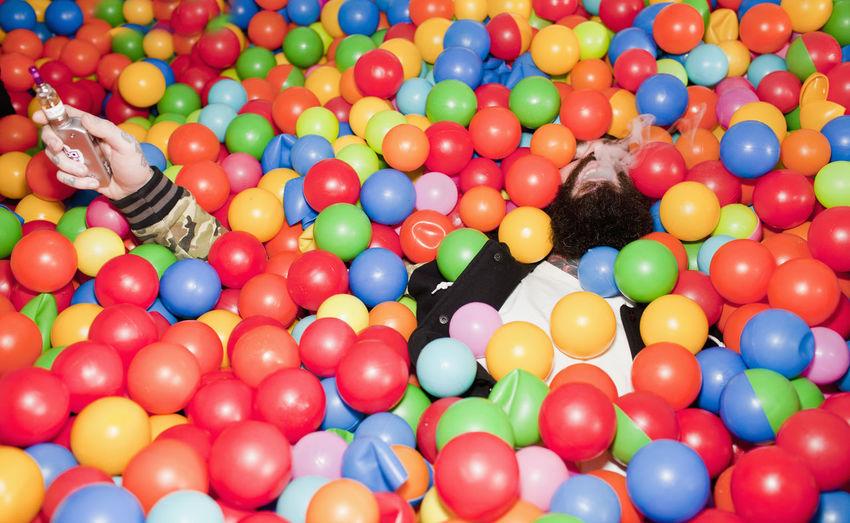 High angle view of multi colored balls ball