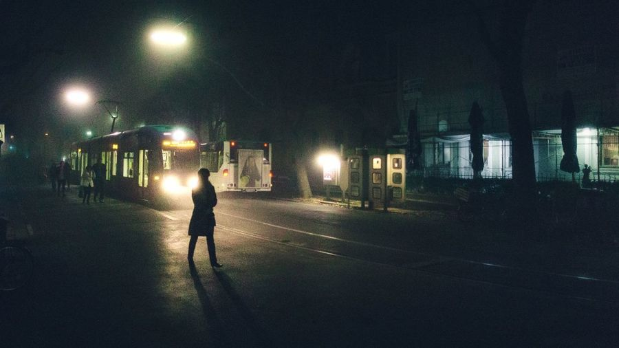Fog at night Night Illuminated Adult Full Length Men People Adults Only Outdoors Only Men City One Person One Man Only Sky Cold Days EyeEmNewHere Real People Tram Cold Temperature Urban Night