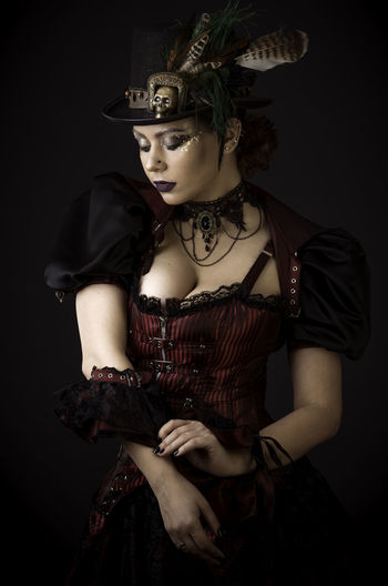 Steampunk Young Woman Emotional Portrait Black Background One Person Indoors  Young Adult Girl Steampunk Beauty Woman Erotic_photo