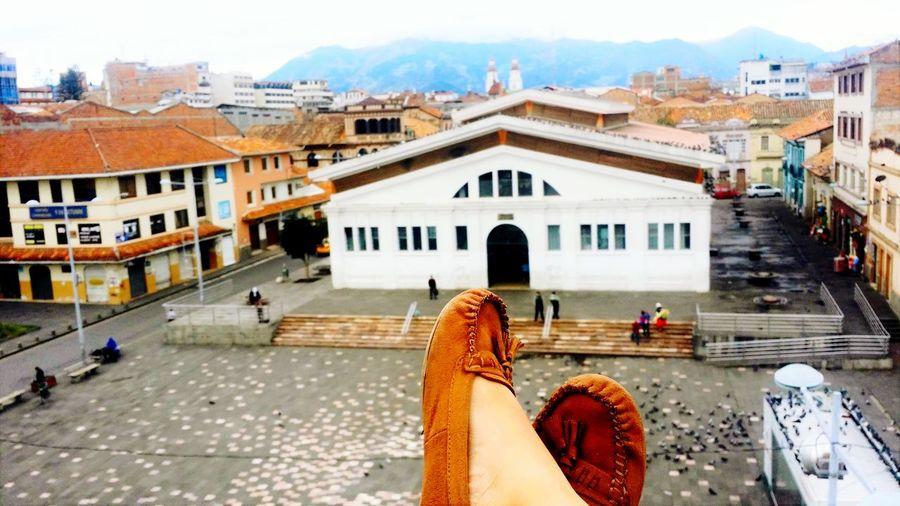 Rooftops Crossed Feet Rooftop Scenery City View  Marketplace Ecuador Cuenca, Ecuador Bright Colors