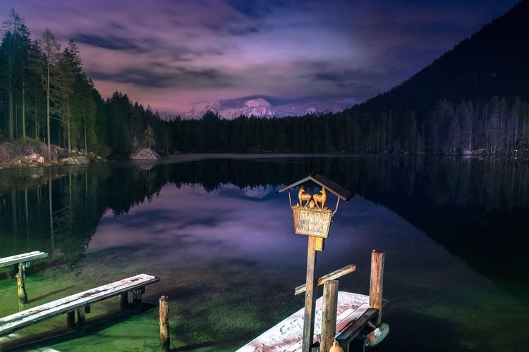 Am Hintersee zur Blauen Stunde Water Sky Reflection Beauty In Nature Tree Scenics - Nature Lake Nature Plant Nautical Vessel Cloud - Sky No People Night Outdoors
